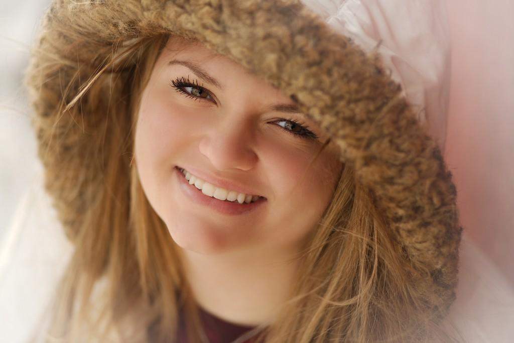 Staying warm in her eskimo parka