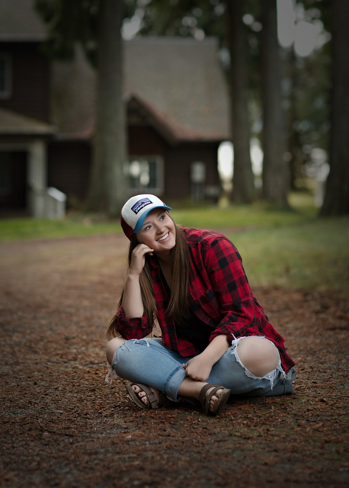 with her ball cap