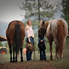 The two girls together with their horses