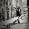 In the alleyway grey scale
