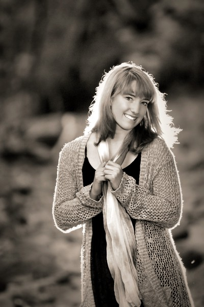 sam with her sweater and scarf, grey scale