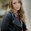 cute shot in leather jacket