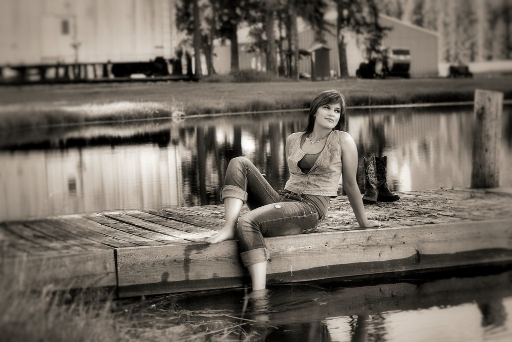 nice dreamy  black and white shot on the old dock