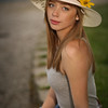 serious look with her hat