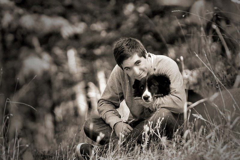 a shot with his favorite dog