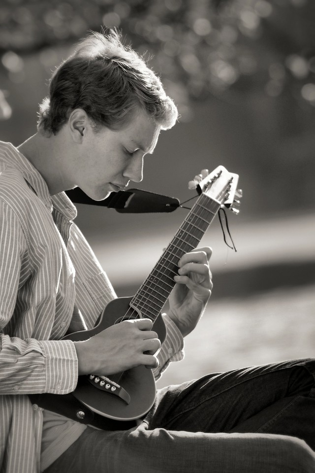 Profile, with guitar