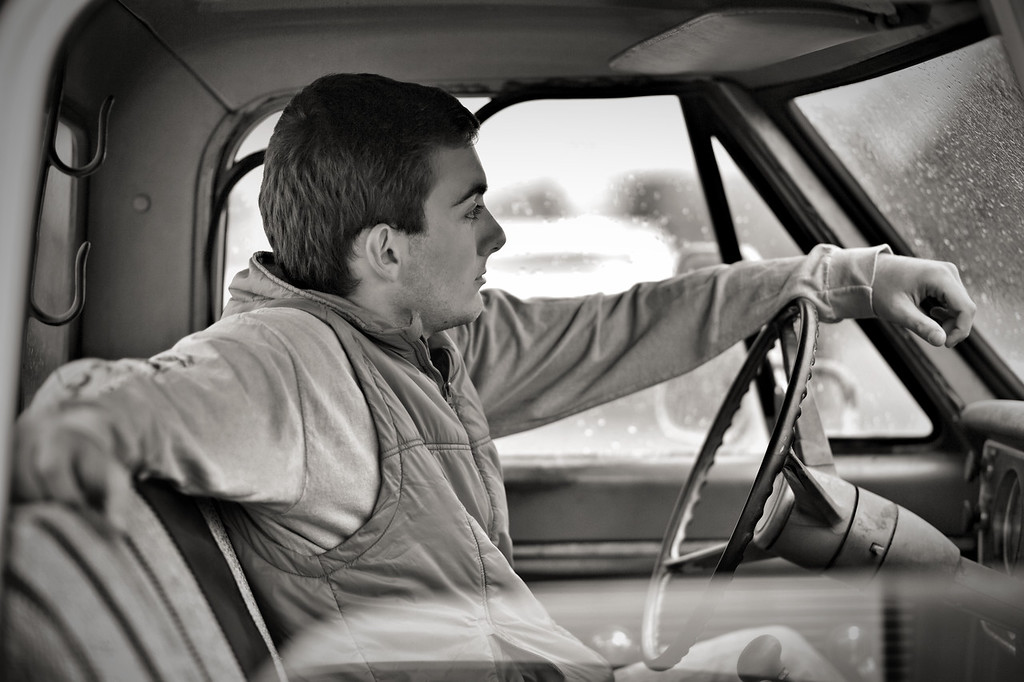 vintage truck in the drivers seat