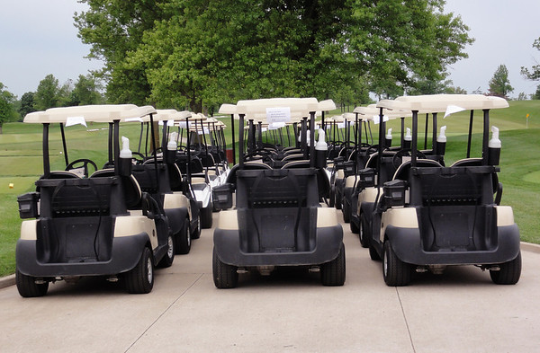 Carts were lined up each day waiting for word from the greens staff that play could start.