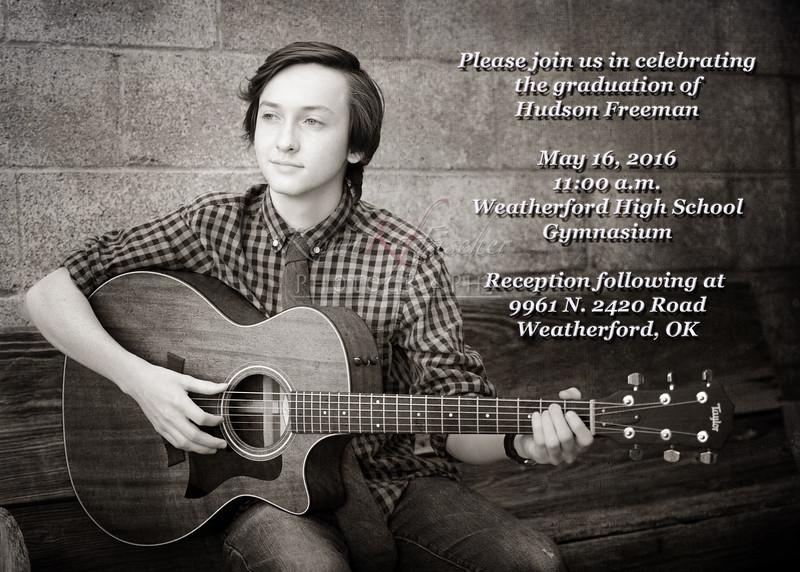 Hudson Freeman~2016 Grad Announcment-Side 1