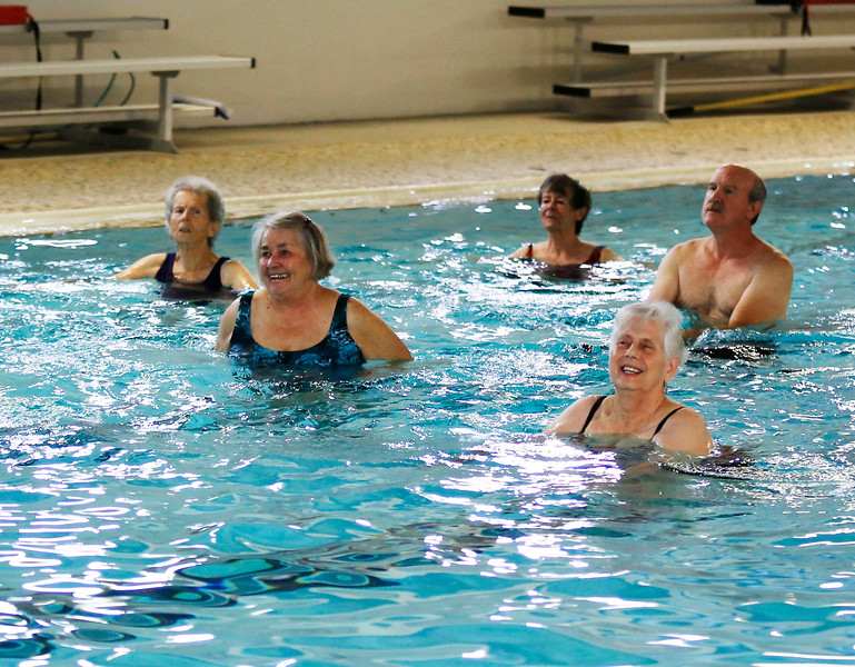 HOLLY PELCZYNSKI - BENNINGTON BANNER Seniors warm up and take a break from the Cold temps during a session of Water Exercise at the Bennington Rec Center. The class runs twice a week and is a fun a cost effective way to keep fit for seniors.