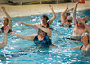HOLLY PELCZYNSKI - BENNINGTON BANNER Shirley Gardner, of Bennington does some stretches during water exercise class at the Bennington Rec Center on Thursday morning.