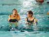 HOLLY PELCZYNSKI - BENNINGTON BANNER Joyce Cowper and Auberta Galusha of Bennington share a laugh during a class of Water Exercise held at The Bennington Rec Center in Bennington on Thursday morning.