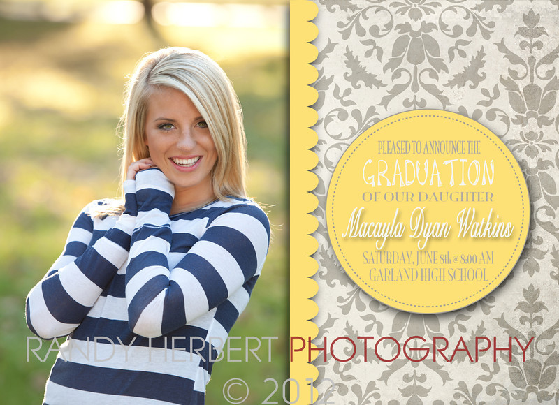 Macayla Graduation Card - back