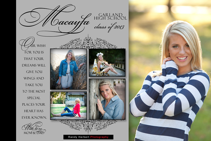 Macayla Yearbook Ad - half page