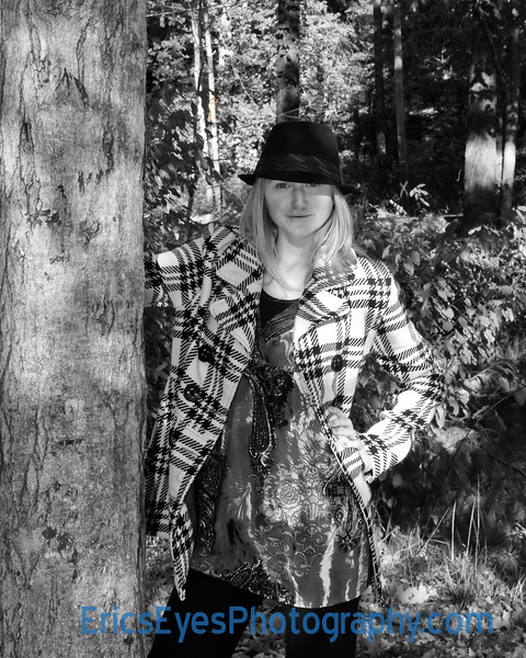 Hannah by Tree BW