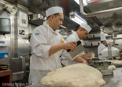 Cooks prepare pizza dough aboard the Norwegian Jewel. 2018