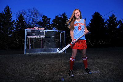 We create dramatic sporting portraits that other can't. This is a premium upgrade to a standard Senior Portrait session, and can be used for most outdoor sports. We used 4 portable strobes with other special techniques to create this stunning portrait of this Arrowhead Field Hockey player
