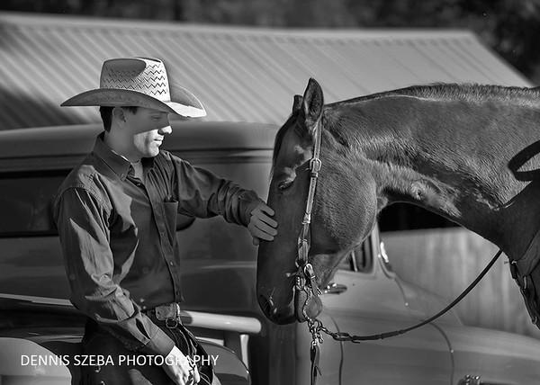 Montana wrangler and his horse. 2018