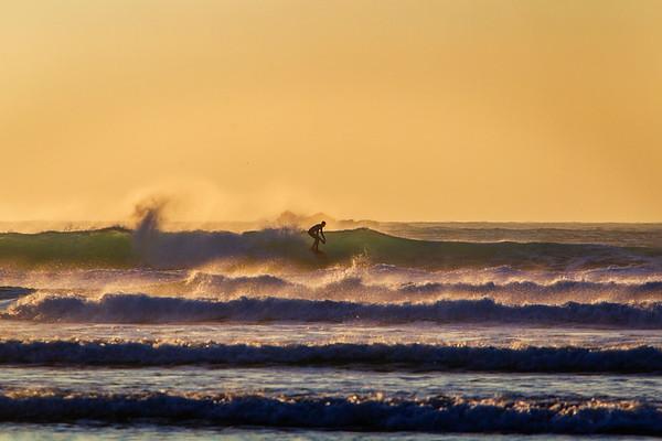 Surfing at Sennen, Cornwall