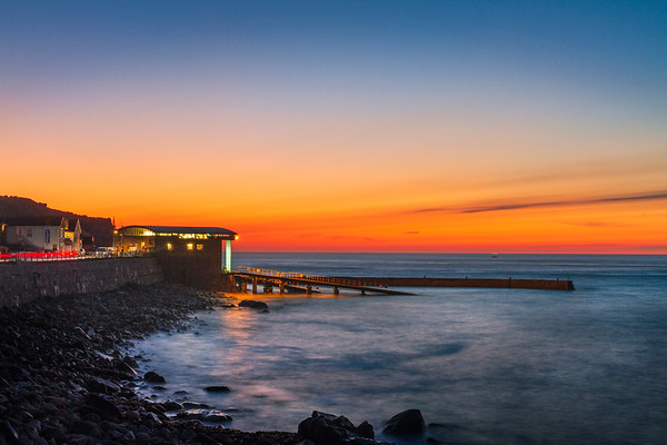 The lifeboat station at Sennen Cove at sunset
