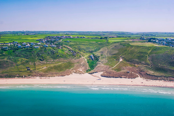 Sennen beach from the air Vellandreath