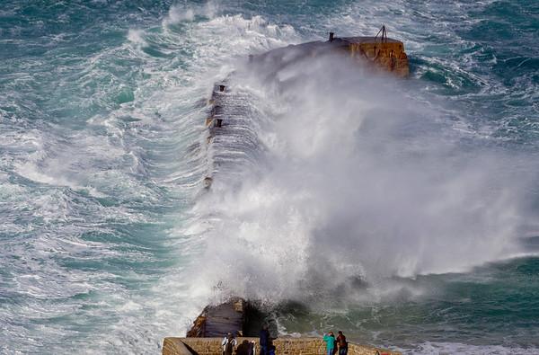 Storm Freya batters the coast of Cornwall at Sennen Cove, UK.