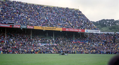 Image of the Millard Stand at Athletic Park, Wellington, New Zealand taken in July 1994 during half time in the test between the New Zealand All Blacks and South Africa Springboks.
