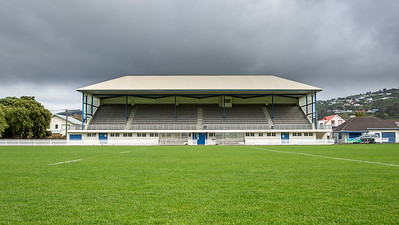 Image of the grandstand at Petone Recreational Ground, Lower Hutt, Wellington, New Zealand,  home to the Petone Rugby Football Club. Photo taken on 24 September 2020.