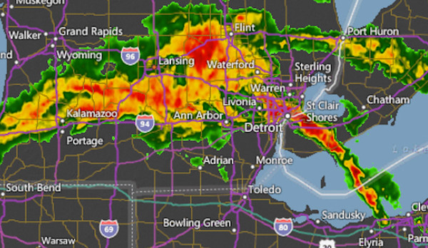 A screen shot of the Accuweather radar early on Thursday, Sept. 29, 2016. Heavy rains caused flooding in southeast Oakland County, southwest Macomb County and in Detroit and Wayne County.