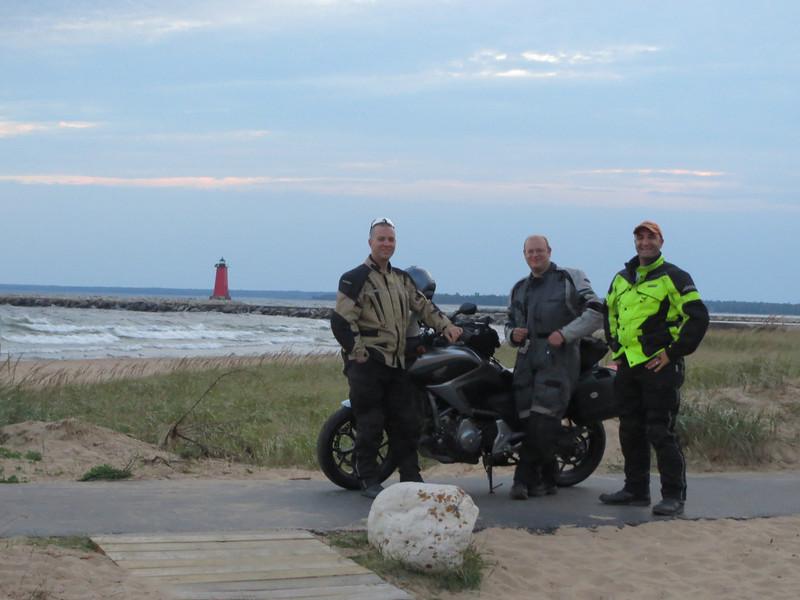 L-R, Brandon, Tim, and Me; on Lake Michigan