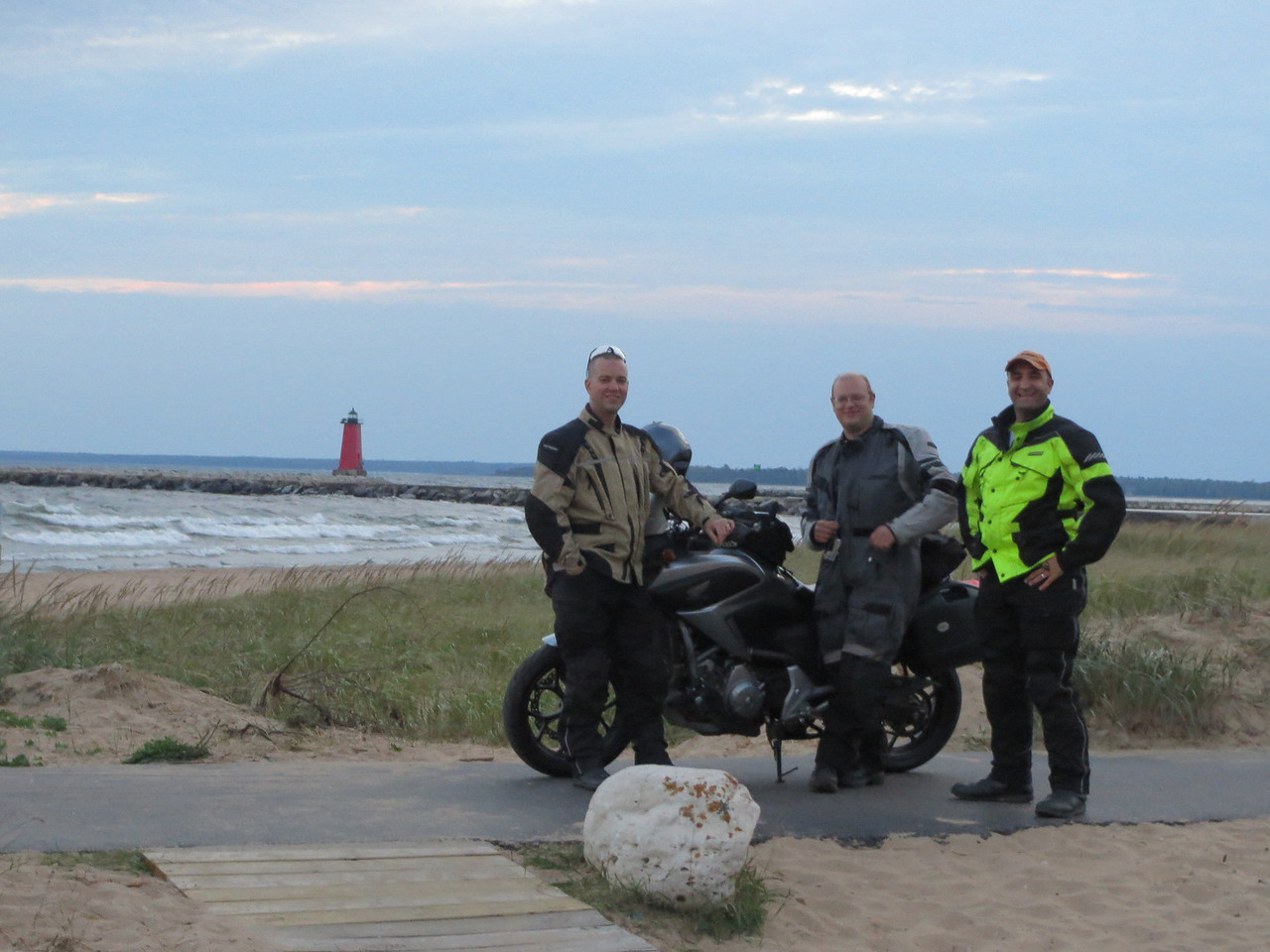 L-R, Brandon, Tim, and Me; on Lake Michigan
