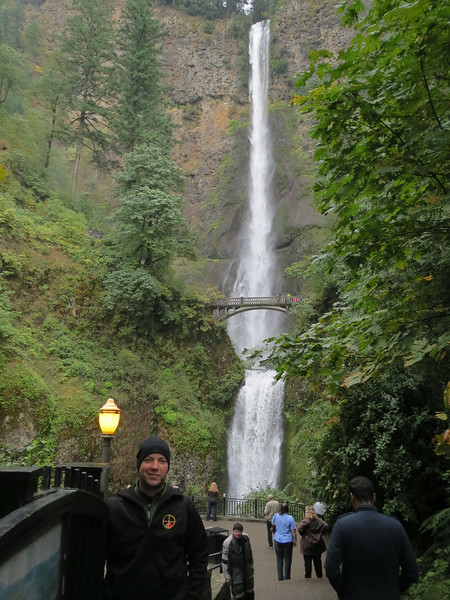 Brandon in front of the 600 foot tall Multnomah Falls, OR