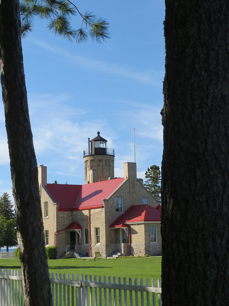 Mackinaw City, MI; the old lighthouse that sits near the existing bay bridge