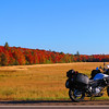 Autumn leaves and my Strom along US 2 in the UP.