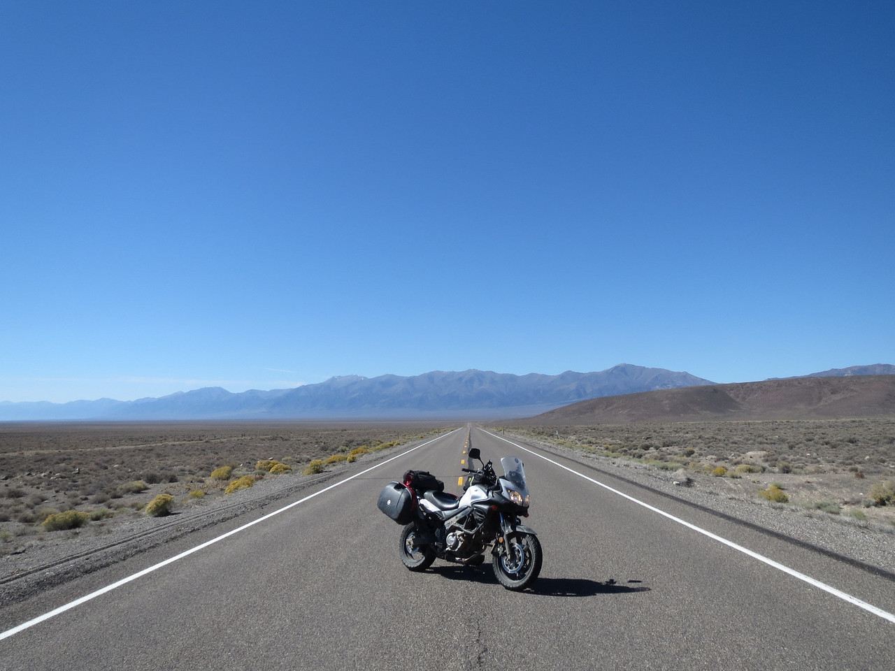 "My Strom, casually parked in the middle of US 50 in Nevada, the ""Loneliest Road in America"""