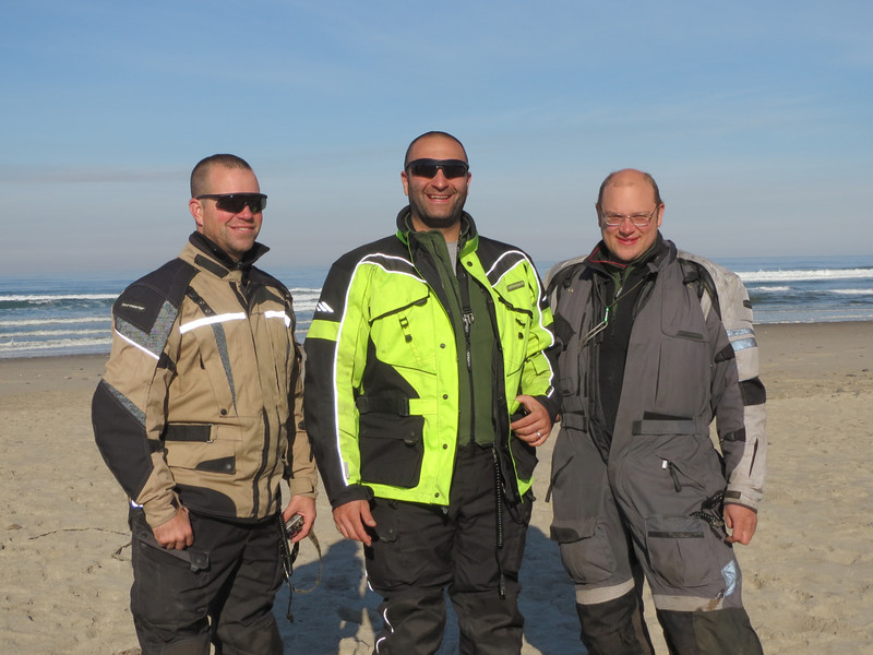 The Pacific Ocean in Oregon, and as far west as any of us have ever been.  L-R: Brandon, me, Tim