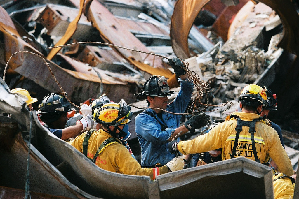 9-21-2001<br /> New York, NY<br /> US&R conduct work with FDNY ground zero.