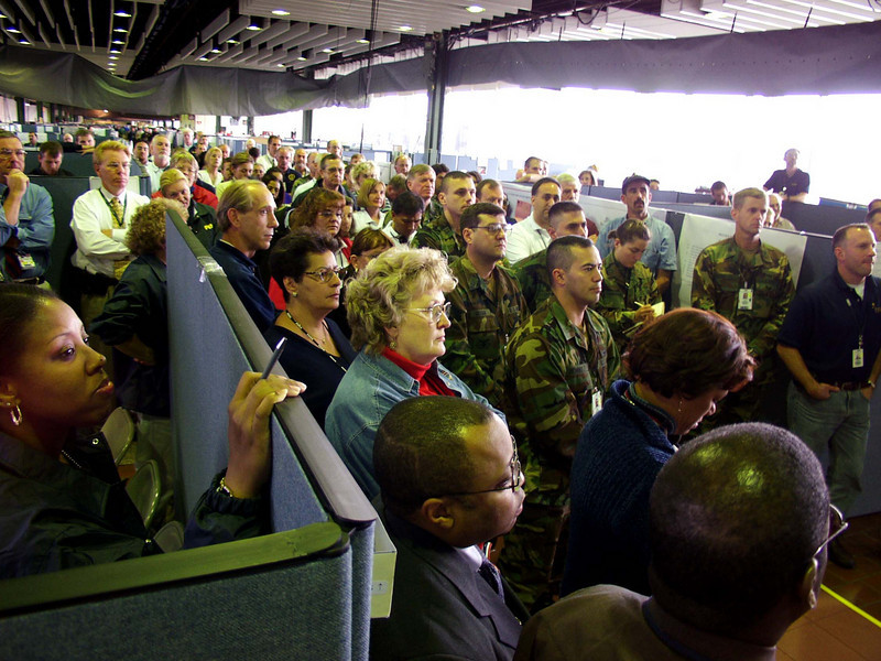 DR-1391-NY<br /> 10-1-2001<br /> FEMA workers listen to Pres. Bush's address to FEMA / State  in the New York DFO.