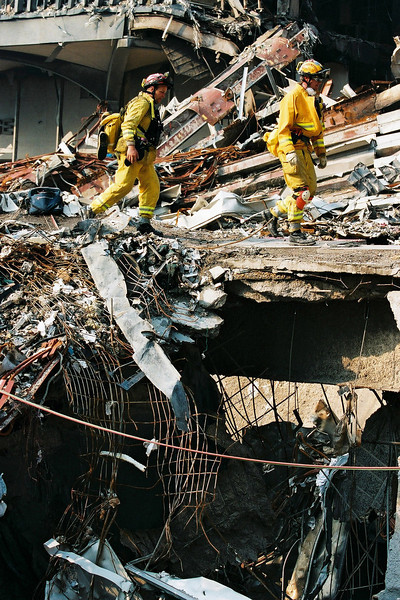 9-21-2001<br /> New York, NY<br /> US&R CA-TF8  working at ground zero.