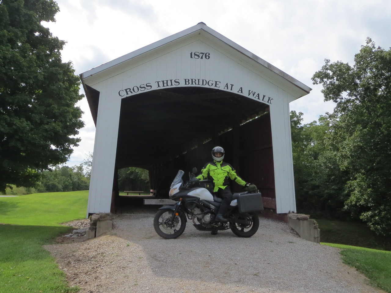 Day 1 (681 miles): Covered bridge near Rockville, IN.  This area (Parke County) has quite a few covered bridges.