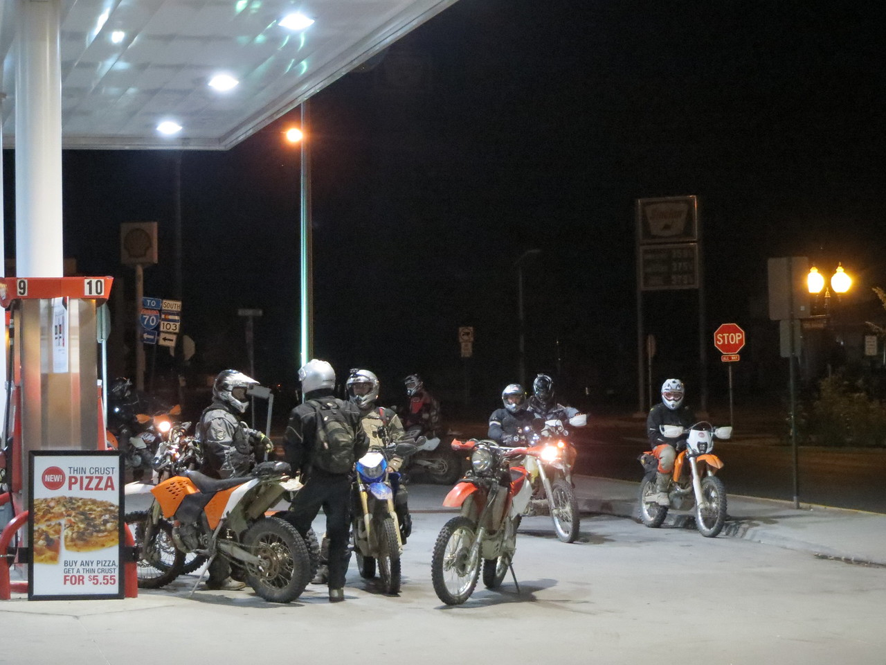 Day 5 (896 miles):  Starting on our way home now, in Idaho Springs CO, we saw this group of dirt bikers getting ready for a night ride.