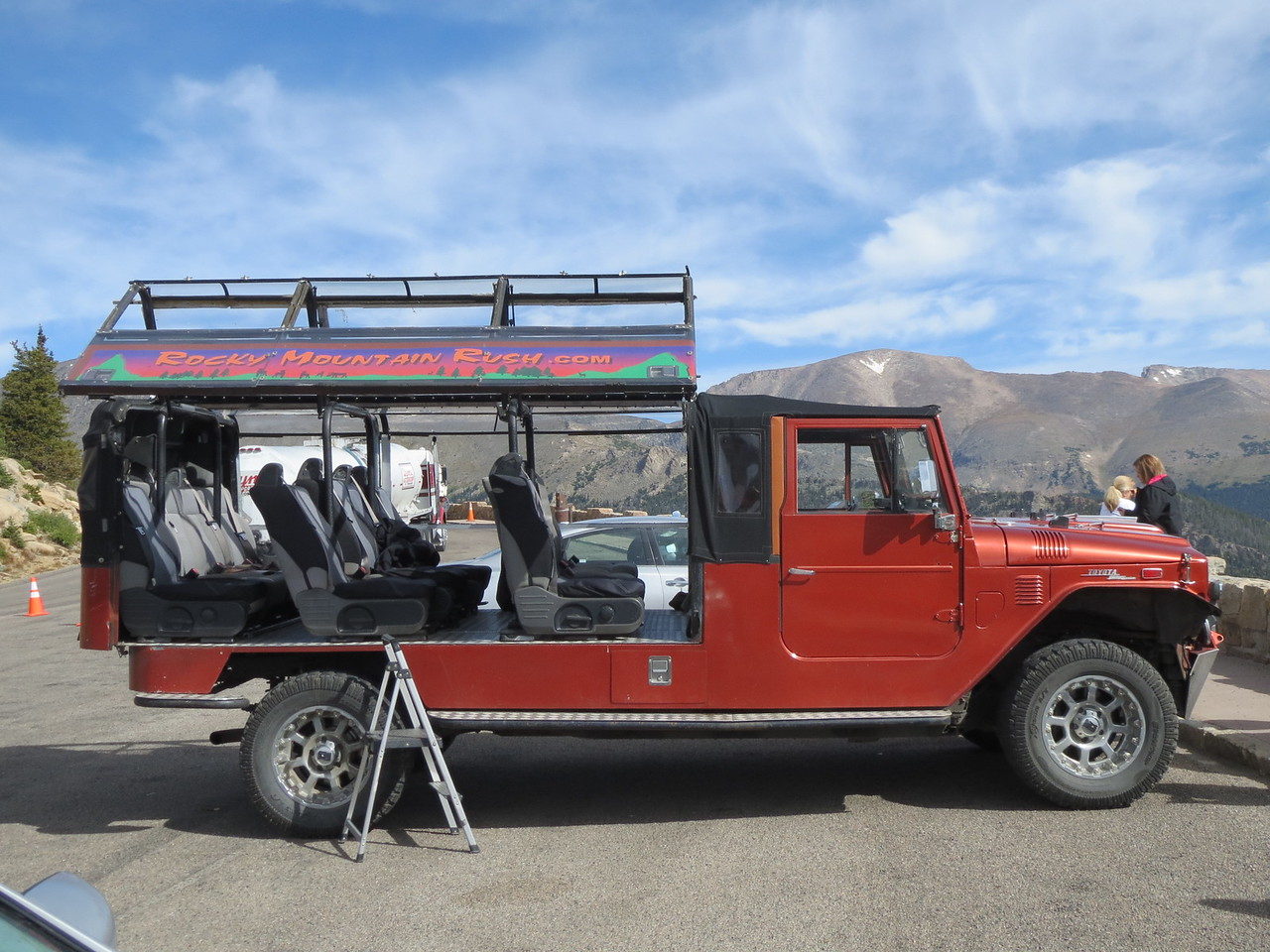 Day 3 (363 miles): Cool tour bus, old Land Cruiser front end on what Matt thinks is a new Toyota Tundra engine and chassis.