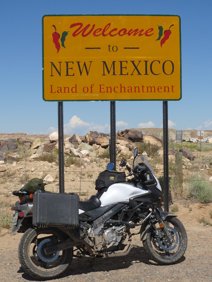 Day 5 (896 miles):  NM line.  I was unable to get the UT line shot, the only road going in to UT here goes through 4 Corners and I wasn't going to pay to get in