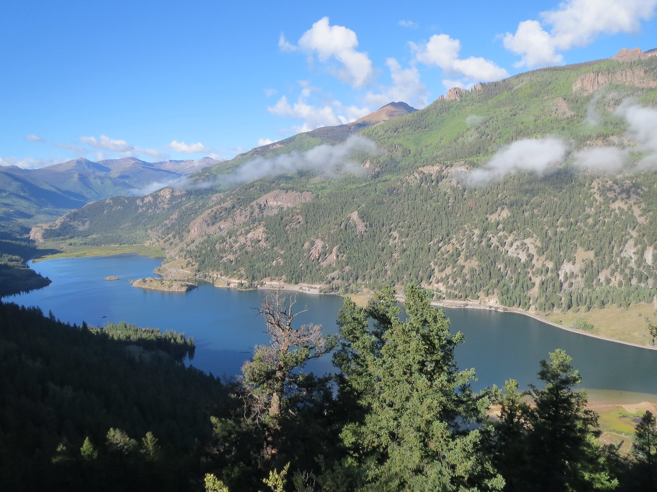 Day 4 (357 miles): Lake San Cristobal, as viewed from a hiking trail.  Which I rode my bike up.