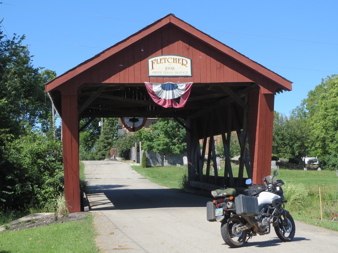 Day 7 (391 miles):  Fletcher OH Covered Bridge, just off US 36