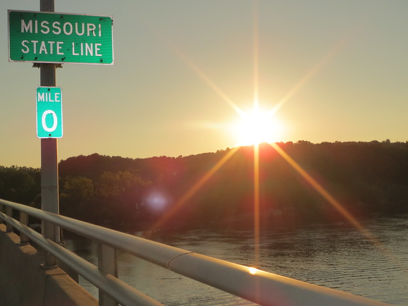 Day 1 (681 miles): Sunset on the Mississippi River on the MO line at Hannibal.