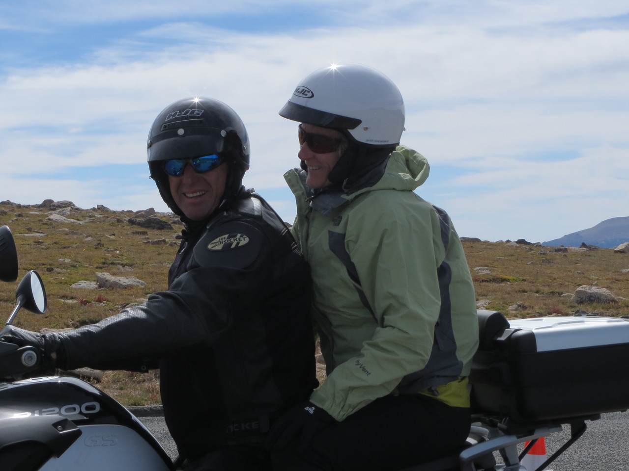 Day 3 (363 miles): Trail Ridge Rd, RMNP.  We met and chatted with these two on a GS; he is originally from France, she from South Dakota.  They live together now in Sturgis.  He was taking her to Albuquerque to a short term nursing consulting job.