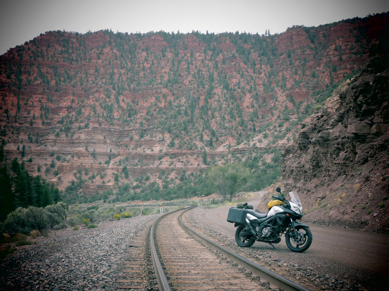 Day 3 (363 miles):   Colorado River Headwaters Scenic Byway.   I love this picture.  The road and the track are basically one, being squeezed together through the canyon by the Colorado River.  It's easy to imagine a horse casually parked (?) in that same spot 100 years ago, with nothing else having changed in the years since.