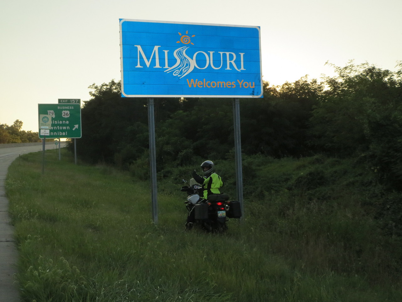 Day 1 (681 miles): Me at the other MO state line sign