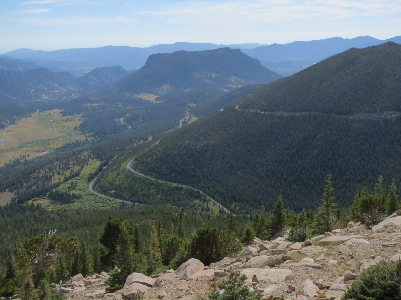 Day 3 (363 miles): US 34 / Trail Ridge Road as it winds up through the park.